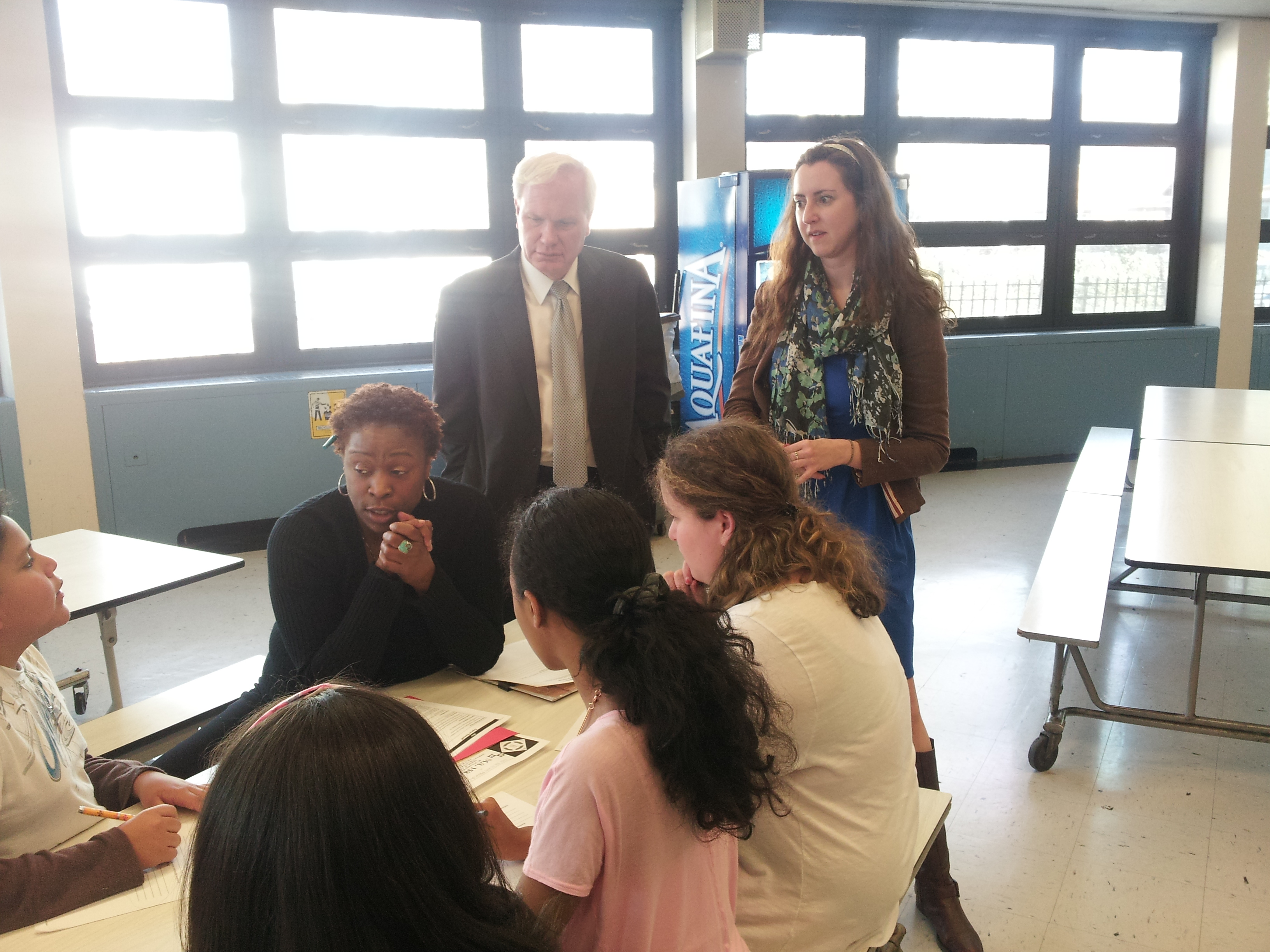Assemblywoman Nily Rozic and State Senator Tony Avella visited M.S. 158 in Bayside to fight for continued funding its Beacon Program.