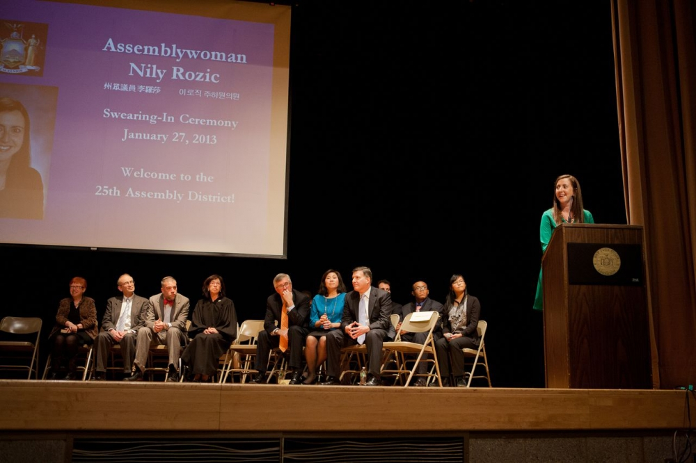 Assemblywoman Nily Rozic celebrates her swearing-in with friends, family, colleagues, and community members at Townsend Harris High School in Flushing.