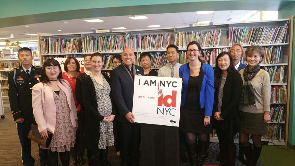 Assemblywoman Nily Rozic announced the launch of an IDNYC pop-up site at the Queens Library at Bayside.