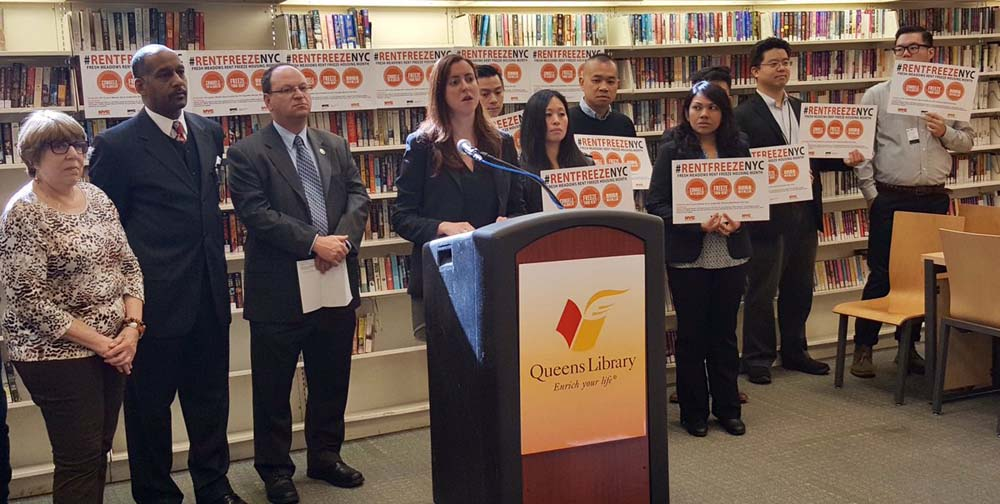 Assemblywoman Nily Rozic announced a SCRIE (Senior Citizens Rent Increase Exemption) enrollment event at the Queens Library at Fresh Meadows.
