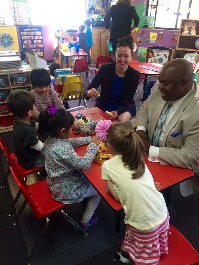 Assemblywoman Nily Rozic and Deputy Mayor Richard Buery visited the pre-K program at Jack 'n' Jill School II in Fresh Meadows.