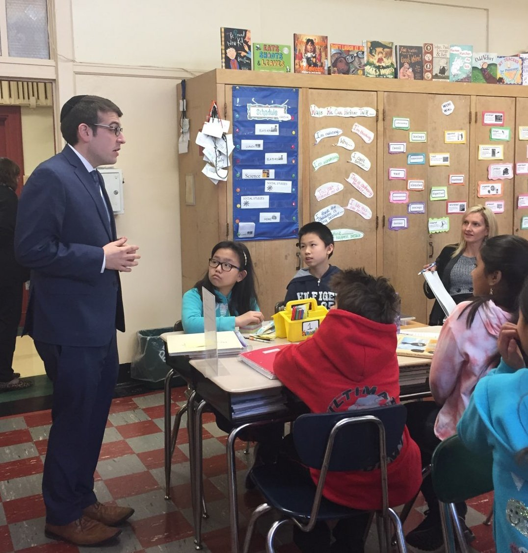 Assemblymember Rosenthal spoke with future leaders at P.S. 129 about the importance of being active citizens