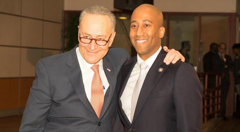 United State Senator Chuck Schumer, left, was one of the main speakers at Assemblyman Clyde Vanel's inauguration to the New York State Assembly.