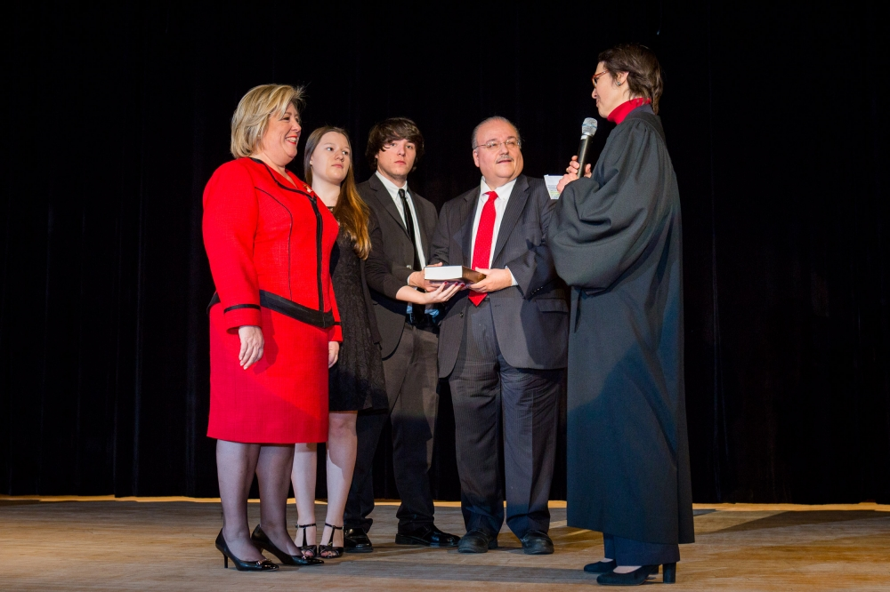 February 22—Julia Richman High School, UES--Assembly Member Rebecca Seawright receives the Oath of Office from the Honorable Judge Jenny Rivera.