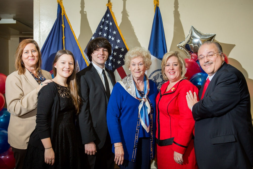 February 22—Julia Richman High School, UES--Assembly Member Rebecca Seawright and family after her swearing-in.