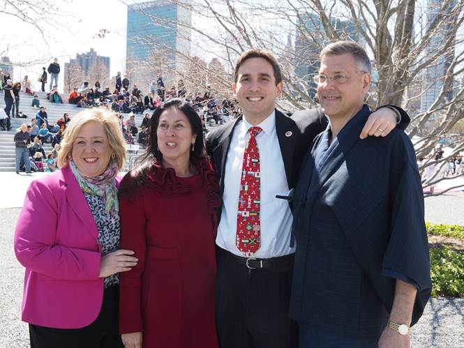April 25, 2015—Roosevelt Island—Assembly Member Seawright stands with Council Member Kallos and Roosevelt Island Residents Christina Delfico and Jim Luce for the Cherry Blossom Festival.