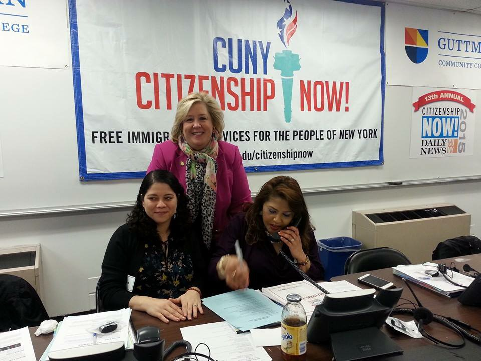 May 1, 2015—New York, NY—Assembly Member Seawright answers calls at the Daily News and CUNY Citizenship Now! call-in center.