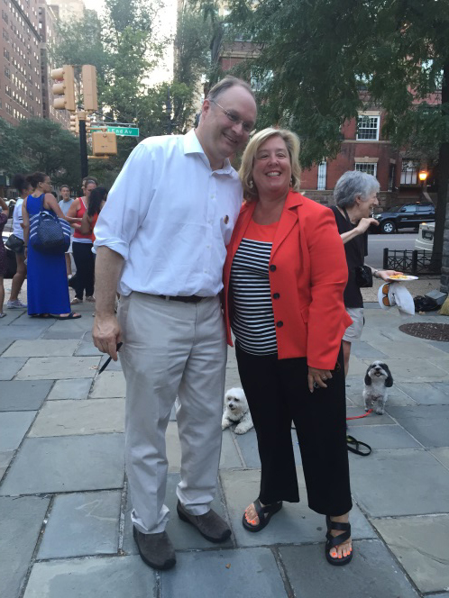 National Night Out, August 4, 2015---Carl Schurz Park, NYC---Assembly Member Seawright stands with 19th Precinct Community Council President Nick Viest.