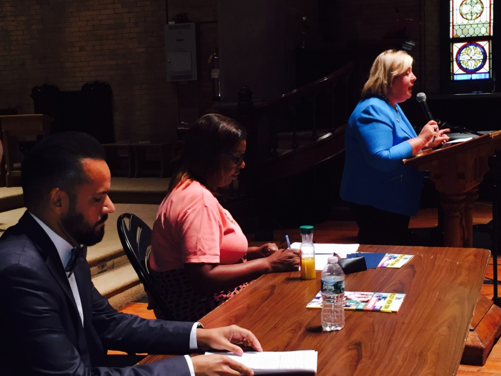 August 5, 2015— Chapel of the Good Shepherd, Roosevelt Island -- Assembly Member Seawright speaking at a Roosevelt Island Town Hall hosted by State Senator José M. Serrano introducing Public Advocate Letitia James to the residents.  Roosevelt Island affordability and RIOC accountability are discussed.