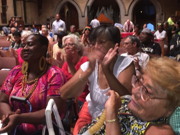 August 5, 2015— Chapel of the Good Shepherd, Roosevelt Island --- Roosevelt Island residents welcome Public Advocate Letitia James.