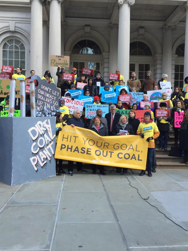 "November 23, 2015 — New York City Hall — Assembly Member Rebecca A. Seawright stands with Sierra Club and colleagues to go ""coal turkey"" and make NYS coal free by 2020."