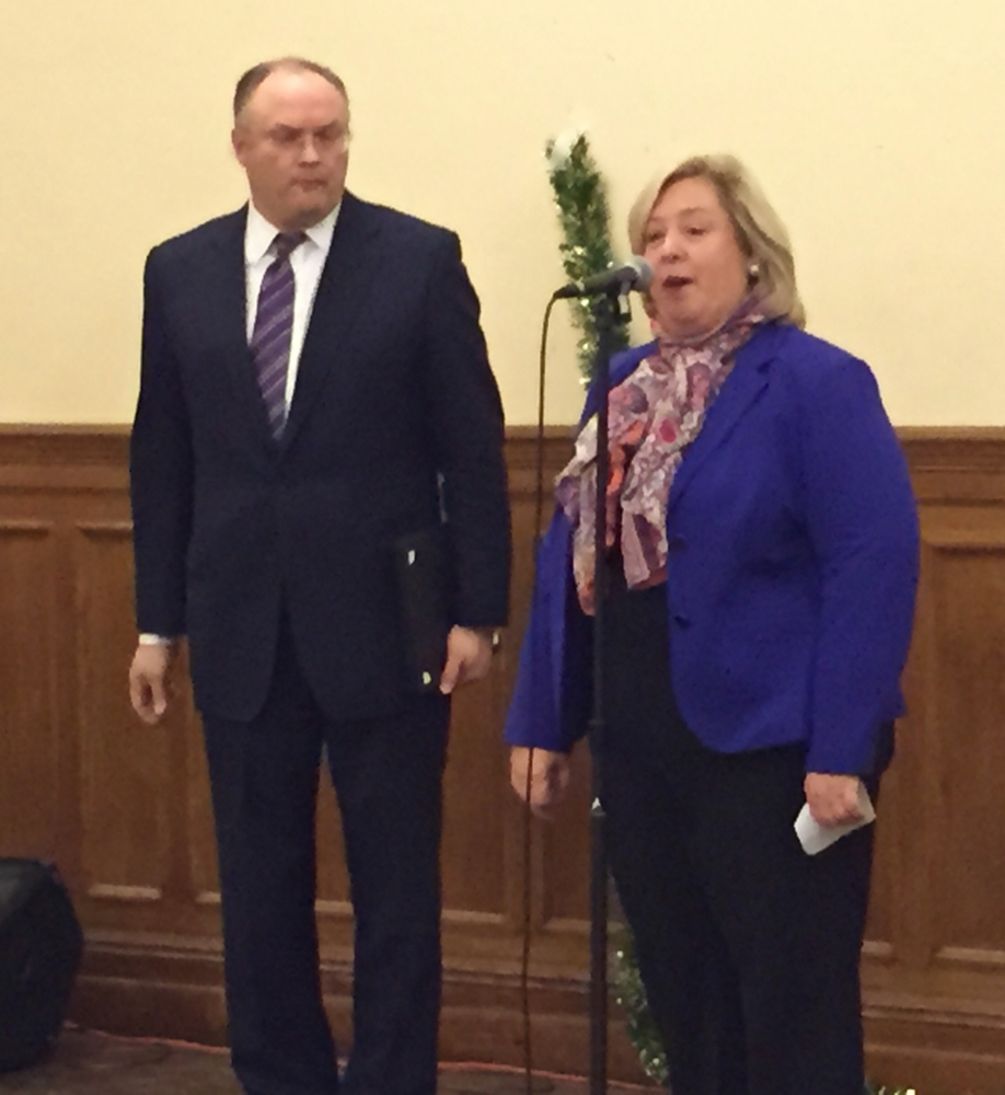 December 7, 2015---Holy Trinity Church, Upper East Side--- Assembly Member Rebecca A. Seawright stands with Nick Viest, Council President as she speaks at the 19th Precinct Community Council holiday party to bring congratulations to those who give back to their community by supporting the 19th Precinct.