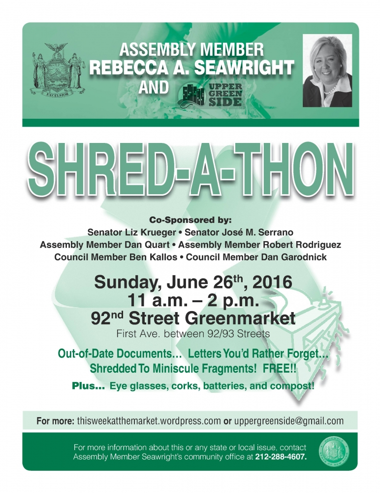 "Assembly Member Seawright hosts 92nd street Greenmarket <a href=""https://www.facebook.com/events/232163753833598/"" target=""blank"">SHRED-A-THON</a> in partnership with Upper Green Side."