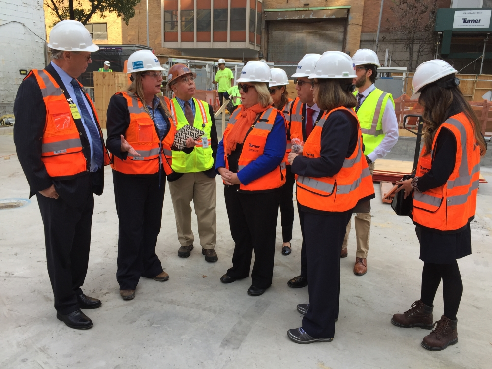 Seawright touring the MSK/CUNY construction site on Monday, October 17, 2016.<br />