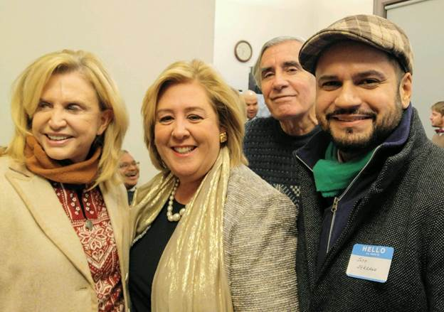 December 21, 2016-- Congresswoman Carolyn Maloney, Assembly Member Rebecca Seawright and Senator Jose Serrano celebrating the holidays with constituents.<br />