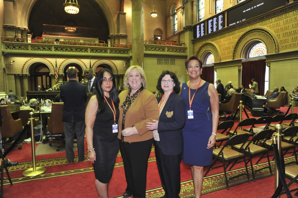 Seawright Extends  Greetings to MWBE-Certified Businesswomen from our Community in the Assembly Chamber.<br />CEO of Salsa Professional Apparel & Supplies Gigi De Jesus-Frerichs, President of Snappy Solutions Maureen Fairlie and President & CEO of Savoca Enterprises Sharon Savoca-Mahin with Assembly Member Seawright in the Assembly Chambers. <br />
