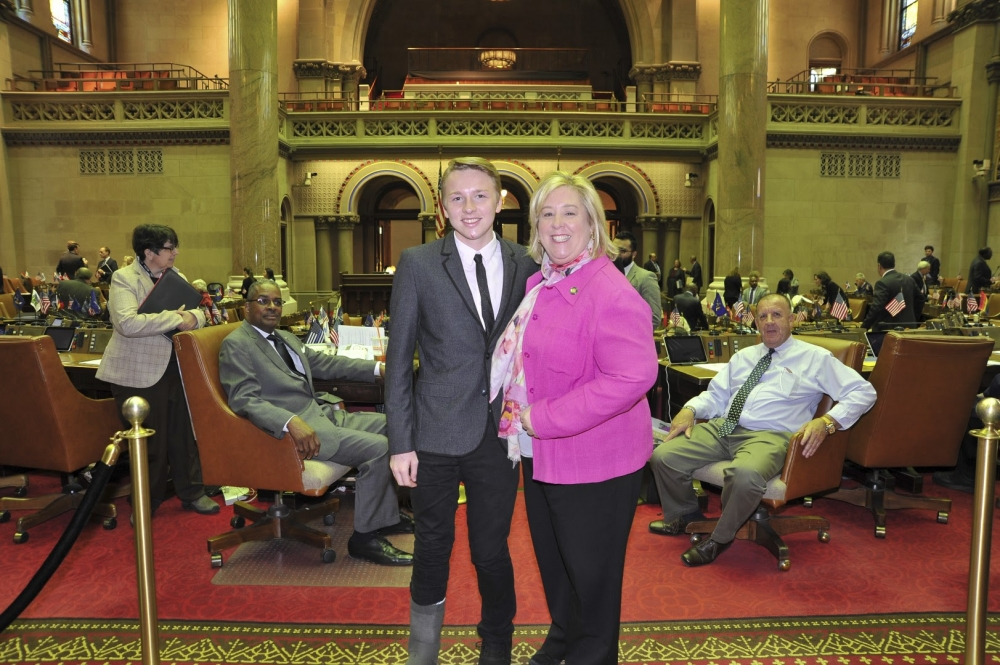 "Matt's research paper was one of the main components of his Assembly internship. Students were required to study a controversial issue and write an objective paper on it.<br />""Keeping in mind Assembly Member Seawright's priorities, I did my research on the Reproductive Health Act, A1748, which was introduced by Assembly Member Glick and would update New York's archaic abortion laws,"" Matt said.<br />The laws were written in 1970, three years before Roe v. Wade, so it does not provide exceptions for late term abortions in the event of a mother's health being at risk. The Intern Program has about 150 students. Only 16 papers are nominated, and only eight are actually chosen to be in the Distinguished Intern Report Book published by the Assembly.<br />"
