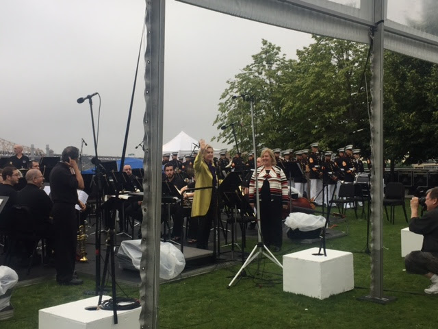 June 16, 2017: Seawright and Congresswoman Carolyn Maloney speak at Marine Corps Band Concert at FDR Four Freedoms Park.<br />