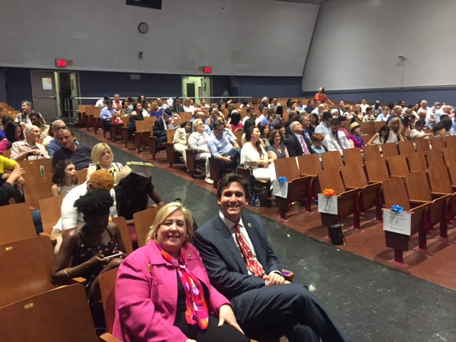 June 23, 2017: Seawright Delivers Remarks at Yorkville East Middle School Graduation. Assembly Member Seawright and Council Member Kallos wait for the graduates to come into the auditorium. <br />