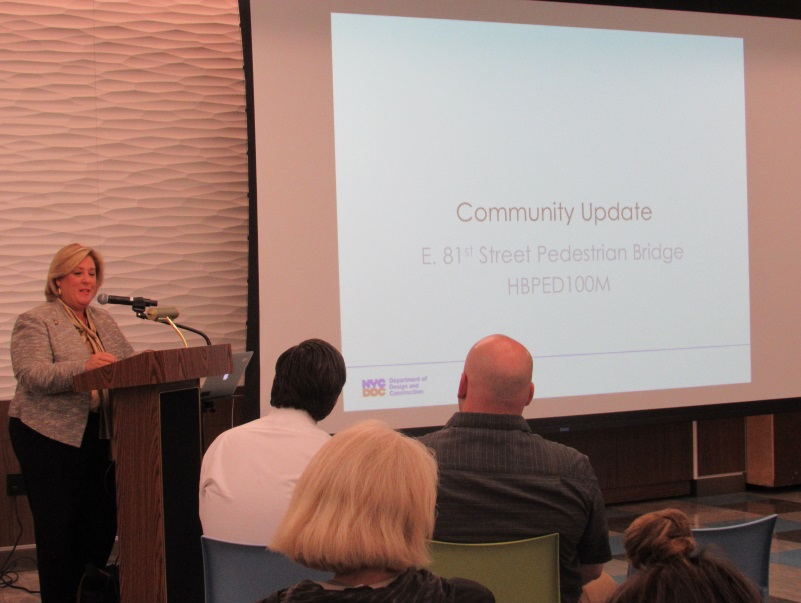 "On Thursday, October 12, Seawright and the New York City Department of Design and Construction (DDC) held a community information session for the residents of the Upper East Side who are anticipating the long-delayed reconstruction project to be completed in December.  The reconstructed bridge will provide a link to and from the East River Esplanade.  Initially, the project was supposed to be completed in 18 months but an unexpected need to retrofit the bridge's north abutment and design changes added and additional 13 months to the project. <br />""I am just as excited as you are to finally see the completion of this project.  Living on East 81st Street, this was the backyard for my children growing up and we cannot wait to see the completion for all to enjoy,"" <strong>said Seawright.</strong><br />"