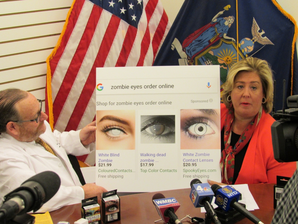 "Photo 7: ""Parents please warn your children, teens and young adults of the consequences, there is no such thing as a one size fits all lens and an ill-fitting lens can cause permanent, lifelong damage. Again, the message that I want everyone to hear today is scare with care. Safety first!"" <strong>said Assembly Member Rebecca A. Seawright.</strong>"