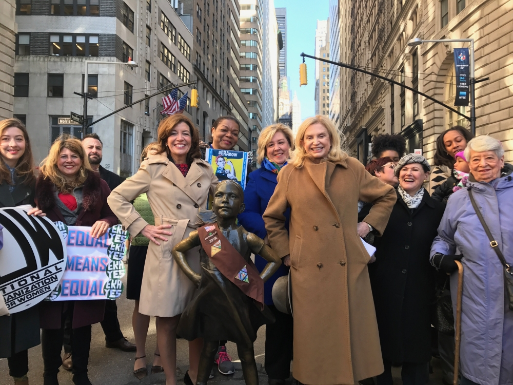 Lt. Governor Kathy Hochul, Seawright and Congresswoman Maloney stand with women's activists.<br />