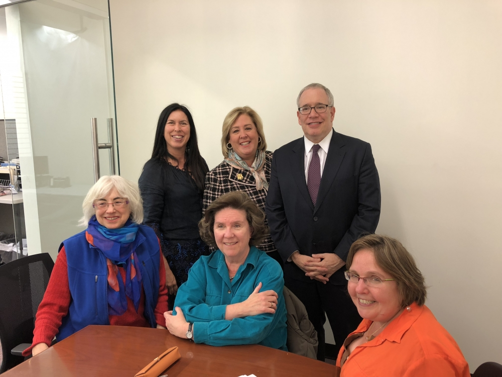 A meeting with Roosevelt Island leaders to discuss the Cornell Tech Town Hall taking place on Monday, November 20 at 6:30pm. Roosevelt Island Community Coalition Chair Ellen Polivy, Christina Delfico,  RIOC Board Member Margie Smith, Seawright Director of Constituent Services Audrey Tannen, Assembly Member Seawright and New York City Comptroller Scott Stringer. <br />