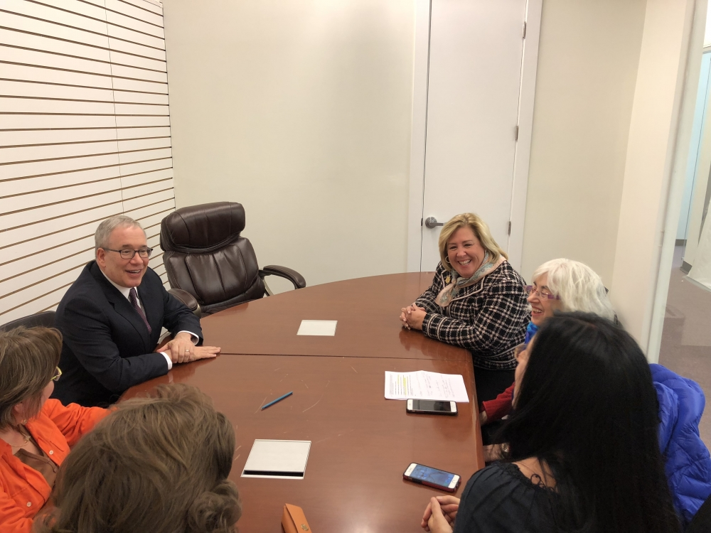 Stringer visits the office just in time for a briefing on Roosevelt Island Cornell Tech.  Leaders of the Island extended an invitation to the Town Hall next week.<br />