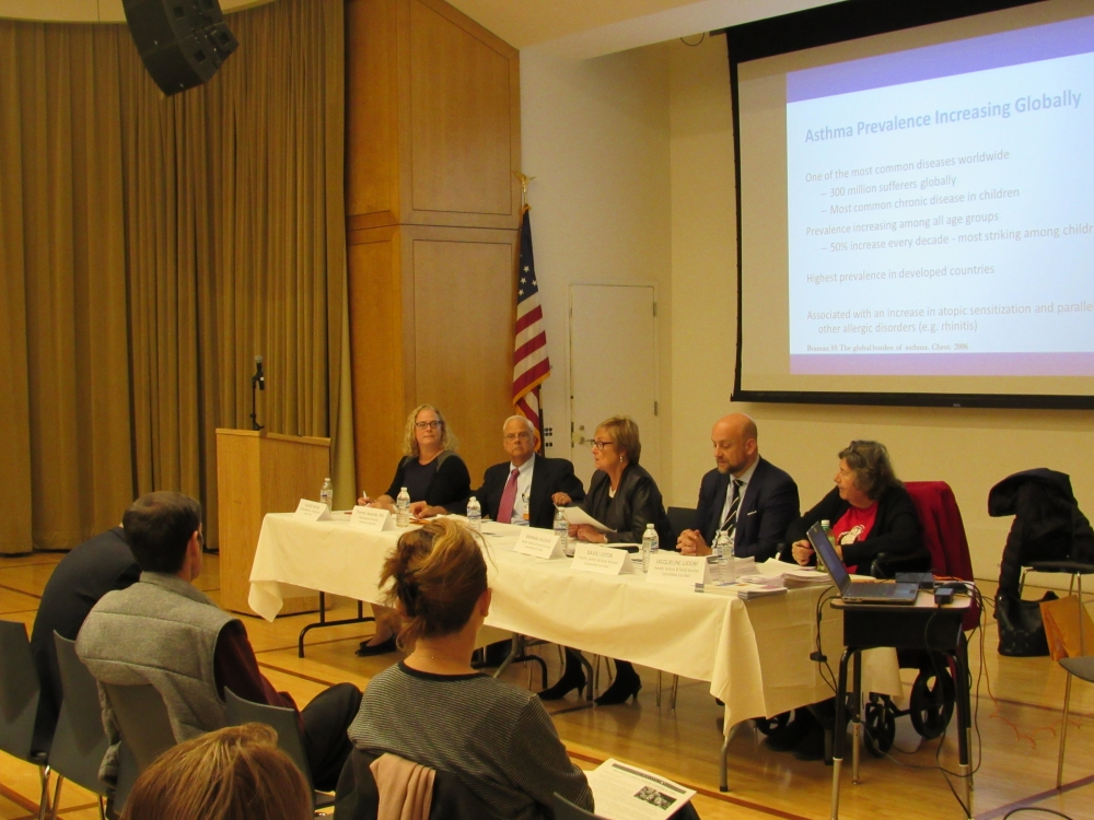 (Left to right) Environmental Consultant Valerie Rifkin, Dr. Thomas Newman, Community Board 8 Health, Seniors and Social Services Co-chairs Barbara Rudder, David Liston and Jacqueline Ludorf sit on the panel. <br />
