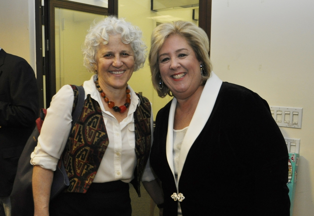 Our Town President Jeanne Straus and Rebecca Seawright.<br />