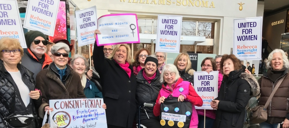 Assembly Member Seawright stands side by side with the men and women of New York to stand up for Women's Rights.<br />
