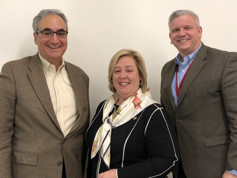 Executive Director Warren Scharf, Assembly Member Rebecca Seawright and Chief Operating Officer Mark Andermanis.<br />