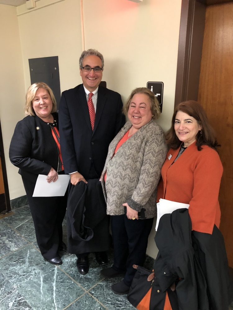 Assembly Member Rebecca Seawright, Lenox Hill Neighborhood House Executive Director Warren Scharf, Senator Liz Krueger, and Community Board 8 Member Lori Bores.  Mr. Scharf was advocating for funding for settlement houses in the budget which provide vital social services to the community and Ms. Bores came to Albany with the Multiple Sclerosis foundation. <br />