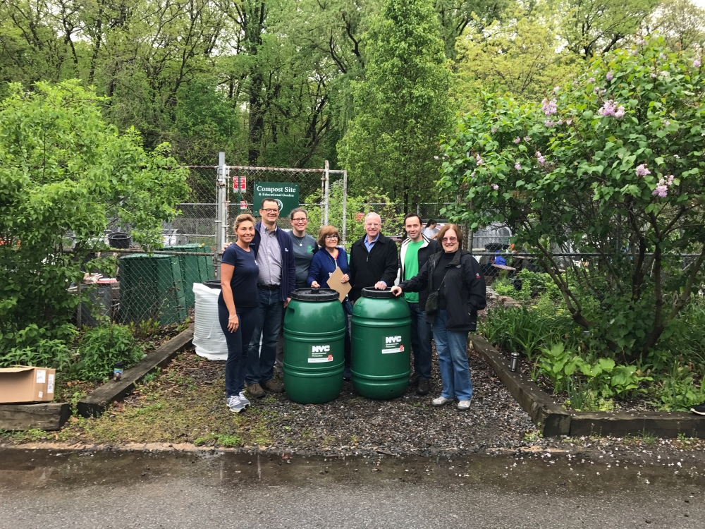 Assemblyman Dinowitz at the Rain Barrel Giveaway hosted by Community Board 8 at Van Cortlandt Park on Friday May 4th. Pictured left to right are DEP Rep. Effie Ardizone, Council Member Andrew Cohen, F