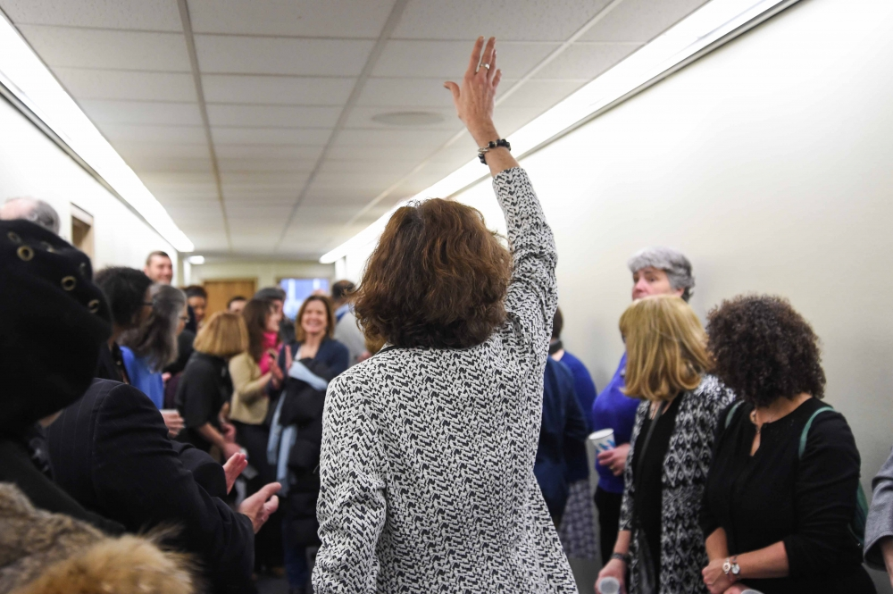 Assemblymember Patricia Fahy welcomes a capacity crowd to her annual Open House on January 27, 2017. Constituents from the 109th visit with Legislative Staff, view local art work exhibited in the offi