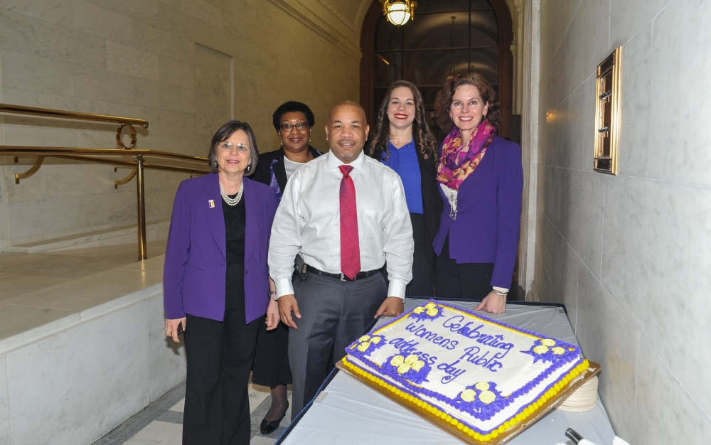 Assemblywoman Fahy joins Speaker Heastie, Assemblywoman Lupardo, Shirley Tranholm and Whitney Griffin of the Women's Legislative Caucus, to celebrate 2017 as the 100th Anniversary of Women's