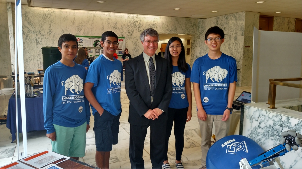 Assemblymember Phil Steck meets with local students from Shaker Robotics Team during their visit to the Legislative Office Building in Albany.