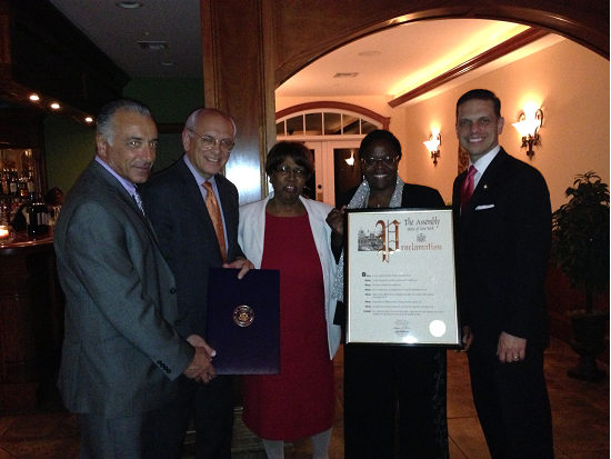 NYS Assemblyman Angelo Santabarbara presents a proclamation recognizing the Carver Community Center's 75th Anniversary to Board Chairwoman Lola Cole and Executive Director Guido Iovinella with Congressman Paul Tonko and Schenectady City Councilwoman Marion Porterfield.