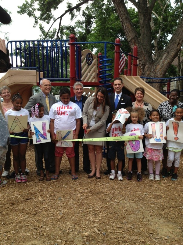 June 26, 2013 Assemblyman Santabarbara with Congressman Paul Tonko and Schenectady City Councilwoman Marion Porterfield at the ribbon cutting commemorating the opening of the Girls Inc. playground on Albany Street in Schenectady. The playground honors the sacrifices of women veterans.