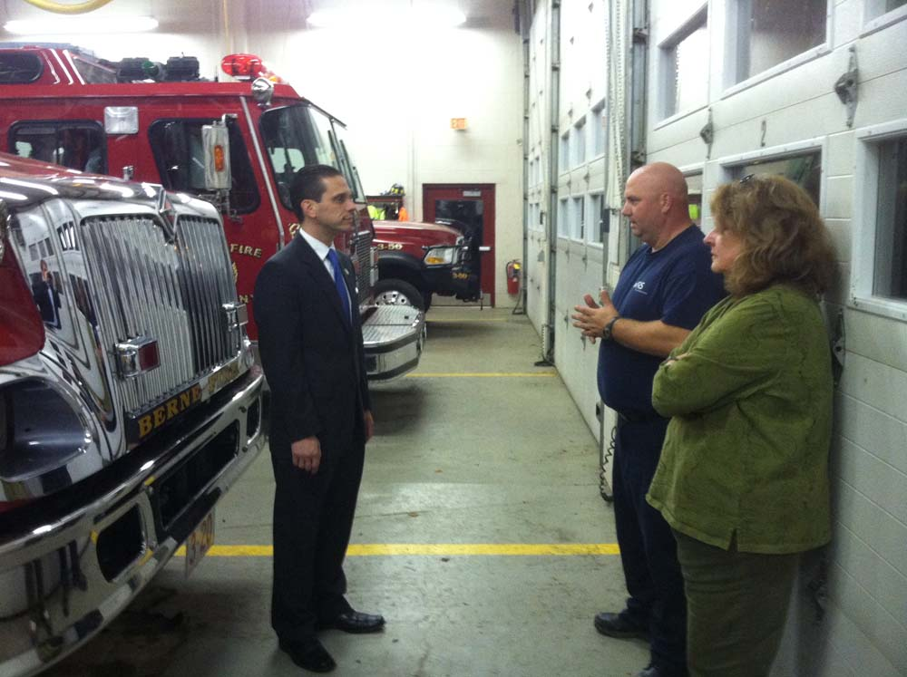 Assemblyman Angelo Santabarbara tours the Fire Department in the town of Berne.