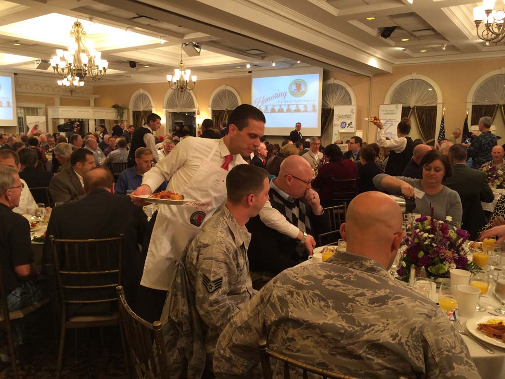 Assemblyman Santabarbara serving breakfast at the 5th Annual 'To Honor and Serve' Breakfast for honored guests, active military and veterans.