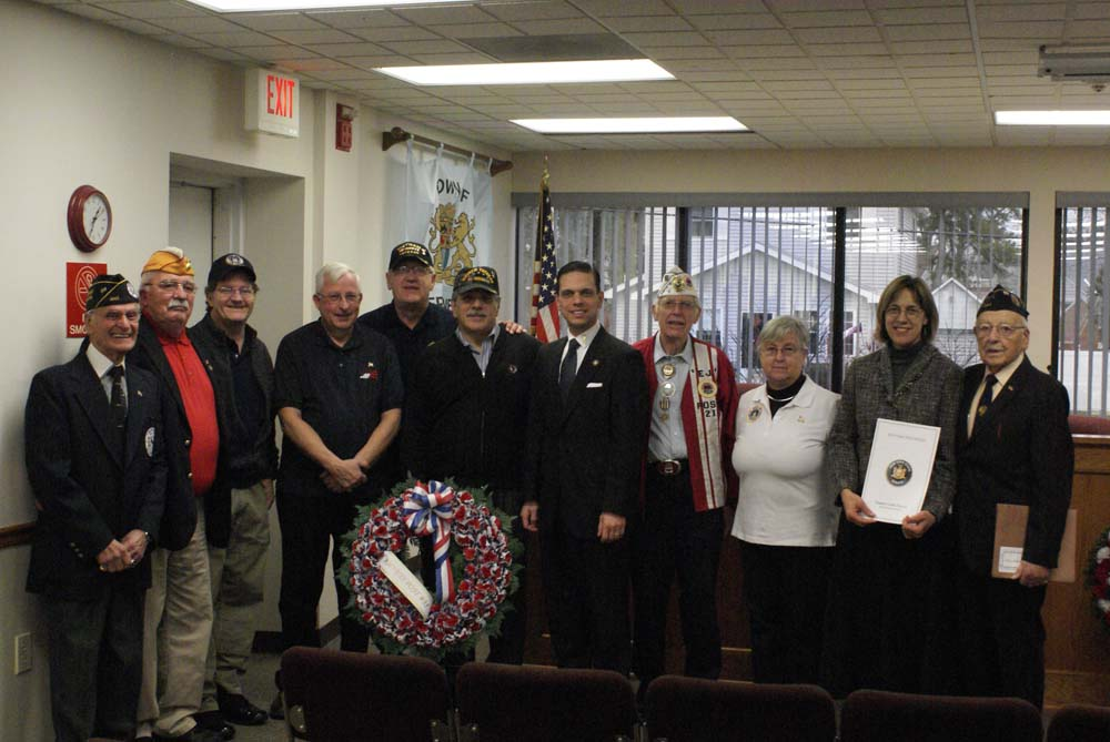 Assemblyman Angelo Santabarbara and Senator Cecelia Tkaczyk join AmVets Post 35, at the Pearl Harbor Day Ceremony held at the Rotterdam Town Hall