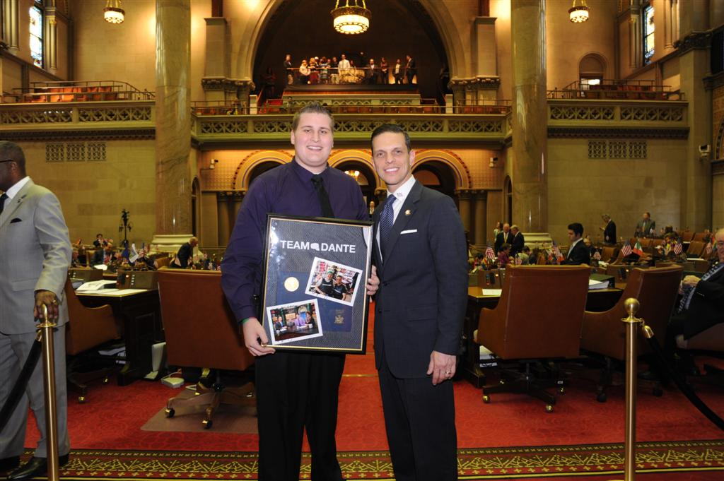 "Assemblyman Angelo Santabarbara welcomes Schalmont High School student athlete Dante Gallucci to the Assembly Chamber.  Gallucci was named ""Boy of the Year"" by the Leukemia and Lymphoma Society."