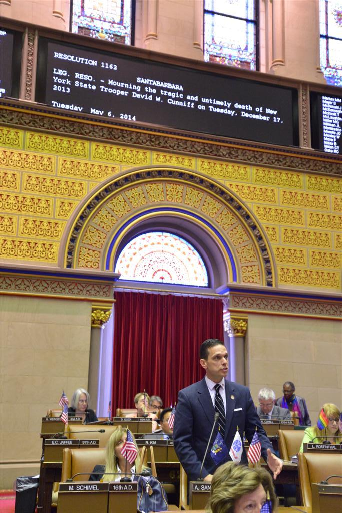 Assemblyman Angelo Santabarbara introduces a resolution mourning the tragic and untimely death of New York State Trooper David W. Cunniff.