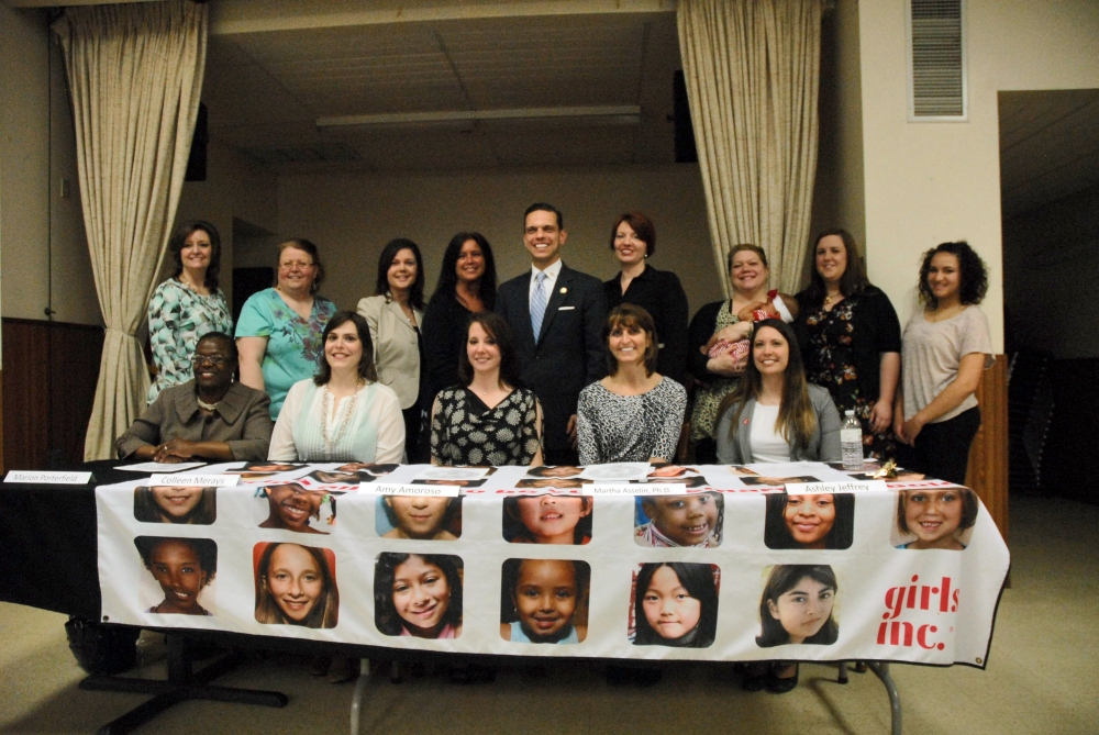 Assemblyman Santabarbara poses with the Women of Distinction honorees and panelists following the awards ceremony at Girls Inc. in Schenectady.