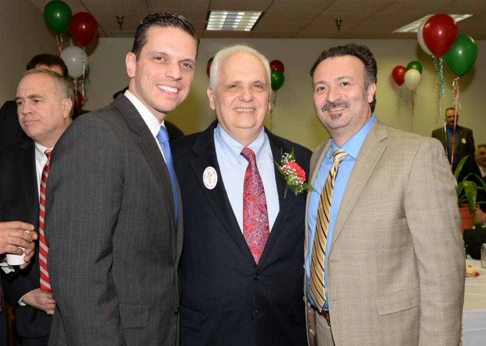 "Assemblyman Angelo Santabarbara and his special guest, Tony Civitella, of Transfinder, join Assemblyman Joe Lentol for ""Good Joe's Day"" in the Capitol. March 18, 2015"