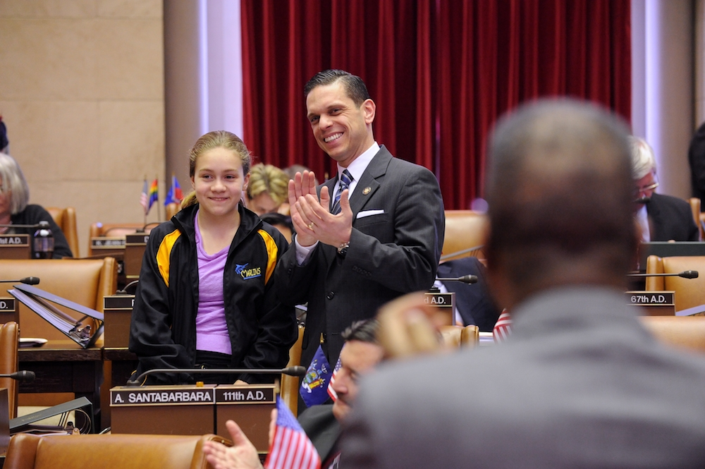 Assemblyman Angelo Santabarbara's daughter, Marianna, is recognized on the floor of the Assembly by Majority Leader Joe Morelle. March 16, 2015