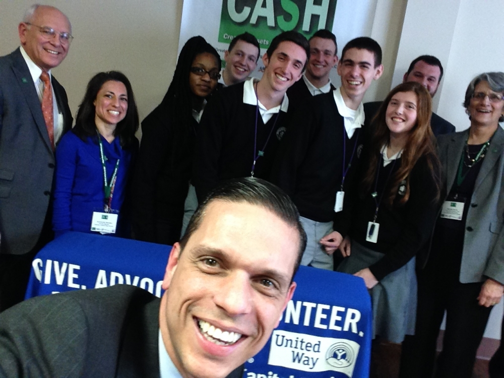 Assemblyman Angelo Santabarbara joins U.S. Rep. Paul Tonko and high school students who provide free tax help at press conference promoting free tax preparation services in the Capital Region. January 30, 2015