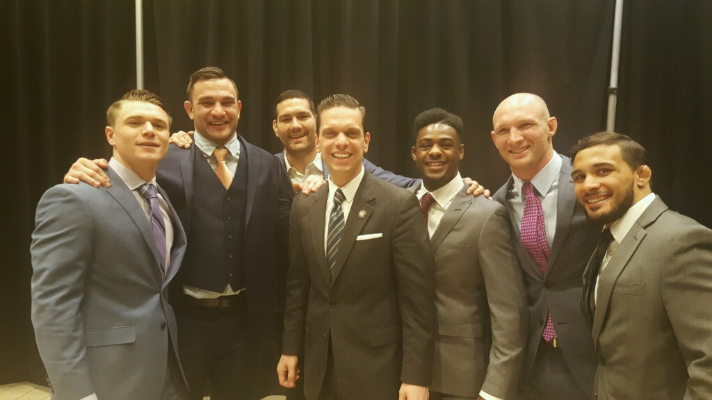 Assemblyman Angelo Santabarbara joins professional MMA fighters at Madison Square Garden on Thursday, April 14, for the historic bill signing making the sport legal in New York State.