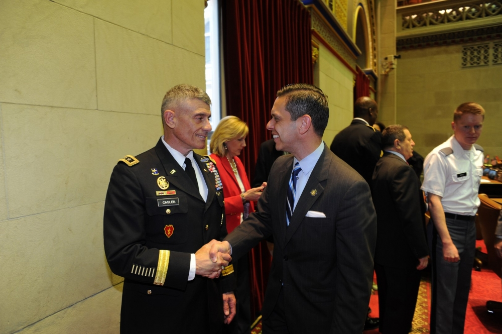 Assemblyman Angelo Santabarbara, a veteran of the US. Army Reserve, talks with West Point Superintendent Lt. Gen. Robert Caslen following the Assembly's West Point Day ceremony on Thursday, May 5, 2016.